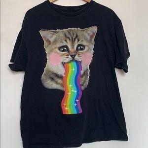 Spencer's Funny Cat Shirt Rainbow Pride XL